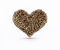 Bronze decorative heart on isolated background Royalty Free Stock Images