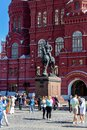 Bronze equestrian statue of Marshal Zhukov on Manezhnaya square in front of the Historical Museum Royalty Free Stock Photo