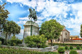 Bronze equestrian statue of mehmet ali and orthodox church in kavala greece europe Stock Image