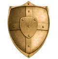Bronze or gold metal shield isolated on white brass Stock Image