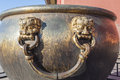Bronze handle of the water vat in Forbidden City Stock Photography
