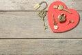 Bronze heart shape lock and keys Royalty Free Stock Photo