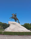 Bronze horseman blue sky saint petersburg Stock Image