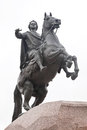 Bronze horseman famous statue of peter i on a horse in city saint petersburg Stock Photos