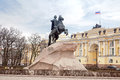 Bronze horseman famous statue of peter i on a horse in city saint petersburg Stock Photo