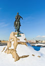 Bronze horseman monument sculptor falconet against vasilevsky island st petersburg russia Stock Images