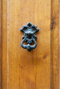 Bronze knocker on old wooden door in Florence Royalty Free Stock Photo