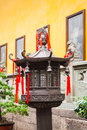 Bronze lantern in front of the jade buddha temple shanghai china Royalty Free Stock Photos