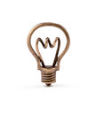 Bronze light bulb symbol on isolated background Stock Photos