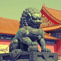 Bronze lion - detail in the Forbidden City in Beijing, China Royalty Free Stock Photo