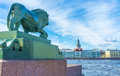 The Bronze Lion At Neva River ...