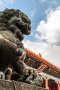 Bronze lion statue at the summer palace Royalty Free Stock Images