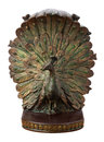 Bronze peacock bookend isolated with clipping path Royalty Free Stock Photography
