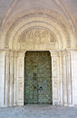 Bronze portal san clemente abbey and sculpted tympanum abruzzo region italy Stock Image