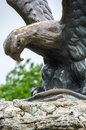 The bronze sculpture of an eagle fighting a snake on a Mashuk mo Royalty Free Stock Photo