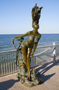 Bronze sculpture of a mermaid