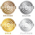 Bronze Silver Gold Platinum Approved Stamp Set Royalty Free Stock Photo