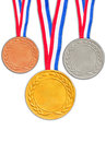 Bronze silver and golden medals isolated on white background Royalty Free Stock Images