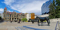 Bronze statue called Family of Horses in Calgary Royalty Free Stock Photo