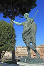 Bronze statue of emperor Caesar Augustus on Via dei Fori Imperiali, Rome, Italy Royalty Free Stock Photo