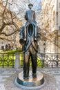 Bronze statue of Franz Kafka in Prague, Czech Republic. Royalty Free Stock Photo