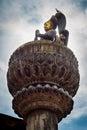 Bronze statue of king yoganarendra malla in durbar square kathmandu nepal Stock Images