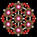 brooch jewelry, design element. Geometric vintage ornamental background.
