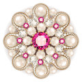brooch jewelry, design element. pearl vintage ornamental