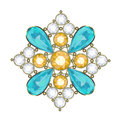 Brooch luxury golden with precious stones vector Royalty Free Stock Image