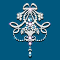 brooch with pearls and precious stones. Filigree v