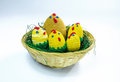Brood of crochet chickens a in a wicker basket Stock Photography
