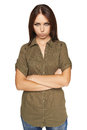 Brooding young woman over white background Royalty Free Stock Images