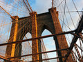 Brooklyn bridge arches during sunset in new york city Royalty Free Stock Photos