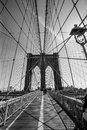 Brooklyn bridge black and white photo of the in new york done in Royalty Free Stock Photo