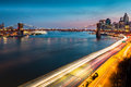 Brooklyn bridge and fdr drive at dusk with traffic trails on the Stock Photography