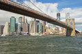 Brooklyn bridge and Lower Manhattan Royalty Free Stock Photo