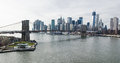 Brooklyn Bridge and Lower Manhattan overhead view. Royalty Free Stock Photo