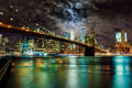 Brooklyn Bridge and Manhattan Skyline Night, New York City Royalty Free Stock Photo