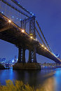 Brooklyn Bridge and Manhattan Skyline At Night NYC Royalty Free Stock Photography