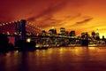 Brooklyn bridge and manhattan at sunset new york orange tone Royalty Free Stock Photos