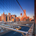 Brooklyn bridge in new york city feb taxi cab crossing the on february the is one of the oldest Royalty Free Stock Image