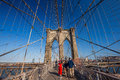 Brooklyn bridge in new york city on june ny is one of the most famous and magnificent landmarks Stock Photography