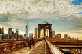 Brooklyn bridge in new york city may with pedestrians on may is a and is one of the oldest Royalty Free Stock Image