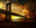 Brooklyn bridge new york city in rich textural painterly style Stock Images