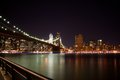 Brooklyn bridge new york at night the famous nighttime Royalty Free Stock Photos