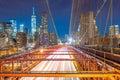 Brooklyn Bridge at night with cars traffic Royalty Free Stock Photo