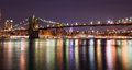 Brooklyn bridge at the night, New York City Royalty Free Stock Photo