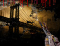 Brooklyn bridge nyc painting new york city with artist hand and brushes Stock Photo