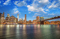 Brooklyn bridge park new york city spectacular sunset view of the and manhattan skyline Royalty Free Stock Photo