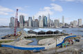 Brooklyn bridge park pier two of under construction and almost finished in spring of the will house handball and basketball Royalty Free Stock Photos